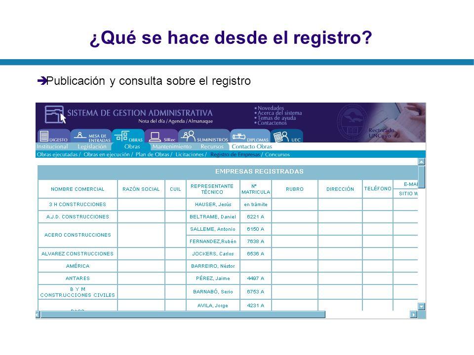 ¿Qué se hace desde el registro? Publicación y consulta sobre el registro