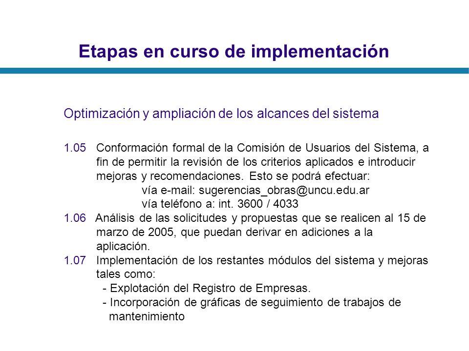 Etapas en curso de implementación Optimización y ampliación de los alcances del sistema 1.05 Conformación formal de la Comisión de Usuarios del Sistem