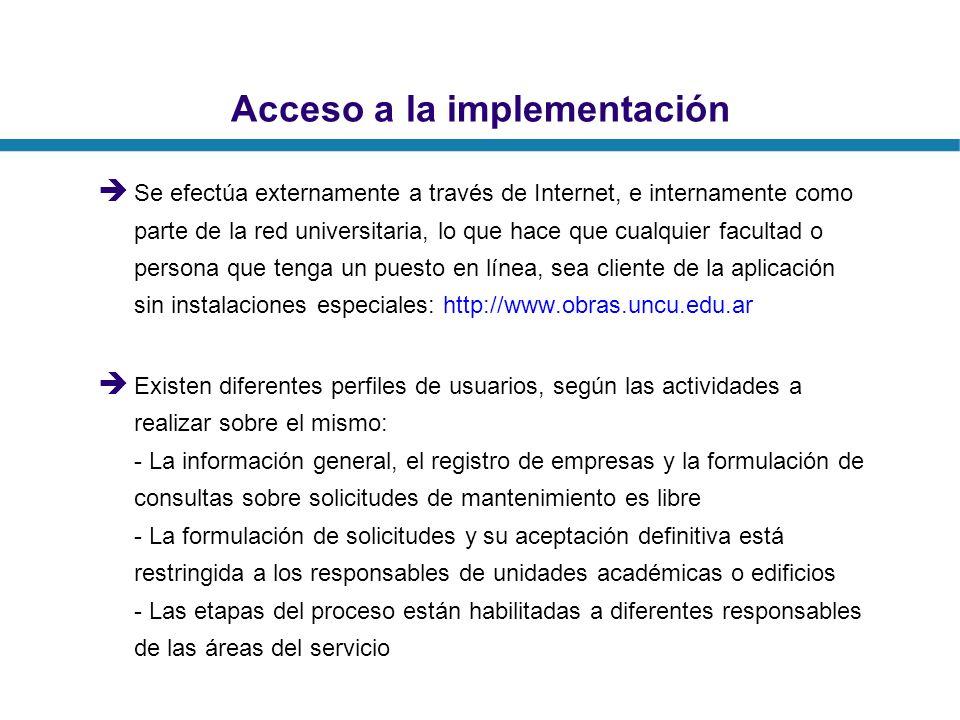 Acceso a la implementación Se efectúa externamente a través de Internet, e internamente como parte de la red universitaria, lo que hace que cualquier