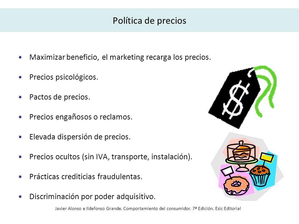 Política de comunicación/publicidad Encarece los precios.