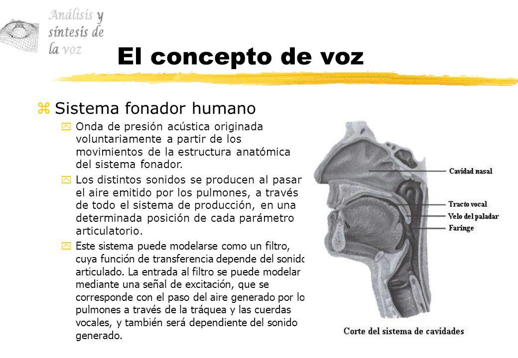 El concepto de voz zSistema fonador humano yOnda de presión acústica originada voluntariamente a partir de los movimientos de la estructura anatómica