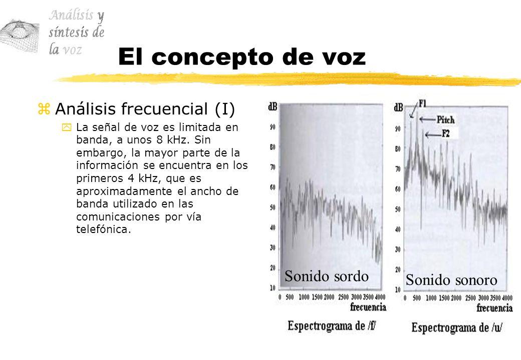 El concepto de voz zAnálisis frecuencial (I) yLa señal de voz es limitada en banda, a unos 8 kHz. Sin embargo, la mayor parte de la información se enc