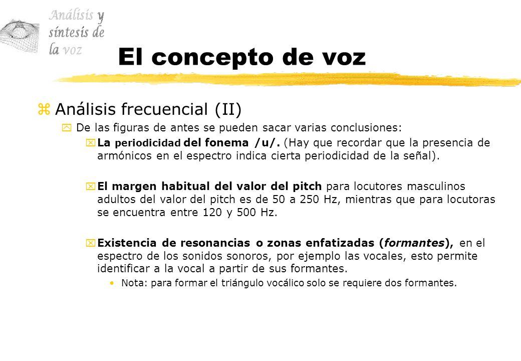 El concepto de voz zAnálisis frecuencial (II) yDe las figuras de antes se pueden sacar varias conclusiones: xLa periodicidad del fonema /u/. (Hay que