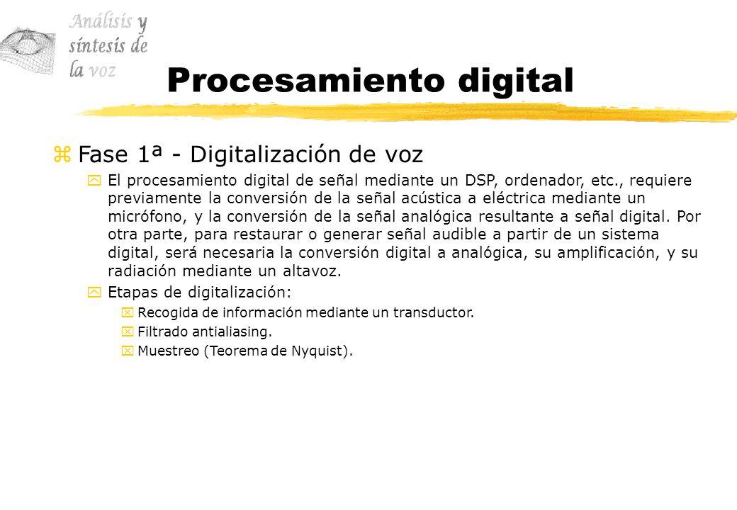 Procesamiento digital zFase 1ª - Digitalización de voz yEl procesamiento digital de señal mediante un DSP, ordenador, etc., requiere previamente la co