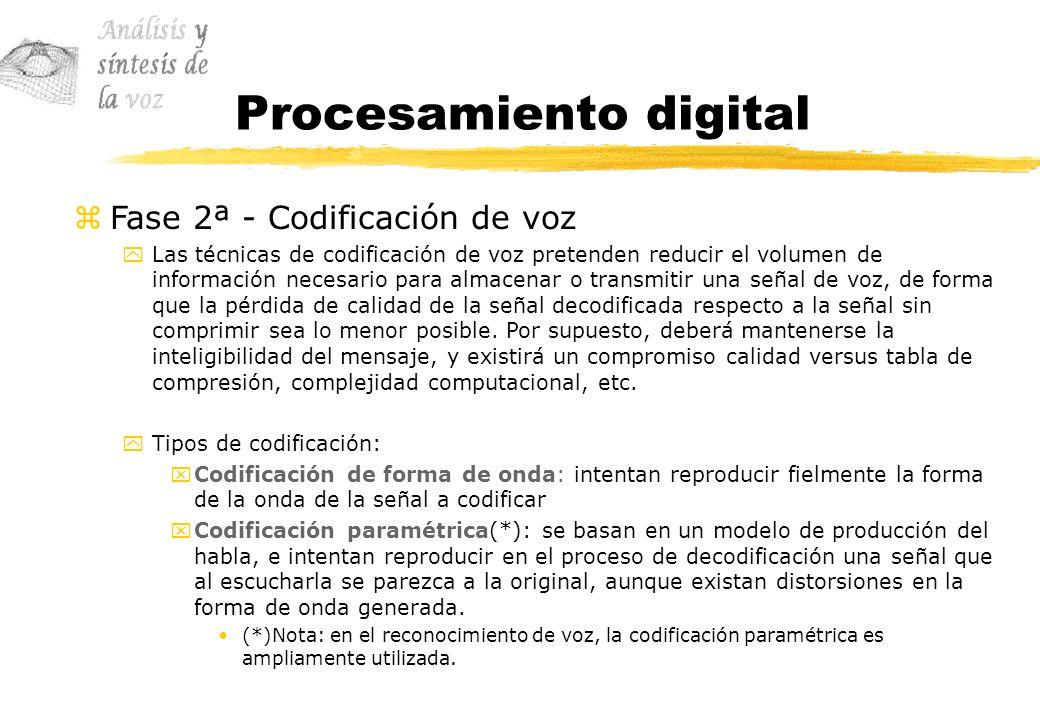 Procesamiento digital zFase 2ª - Codificación de voz yLas técnicas de codificación de voz pretenden reducir el volumen de información necesario para a