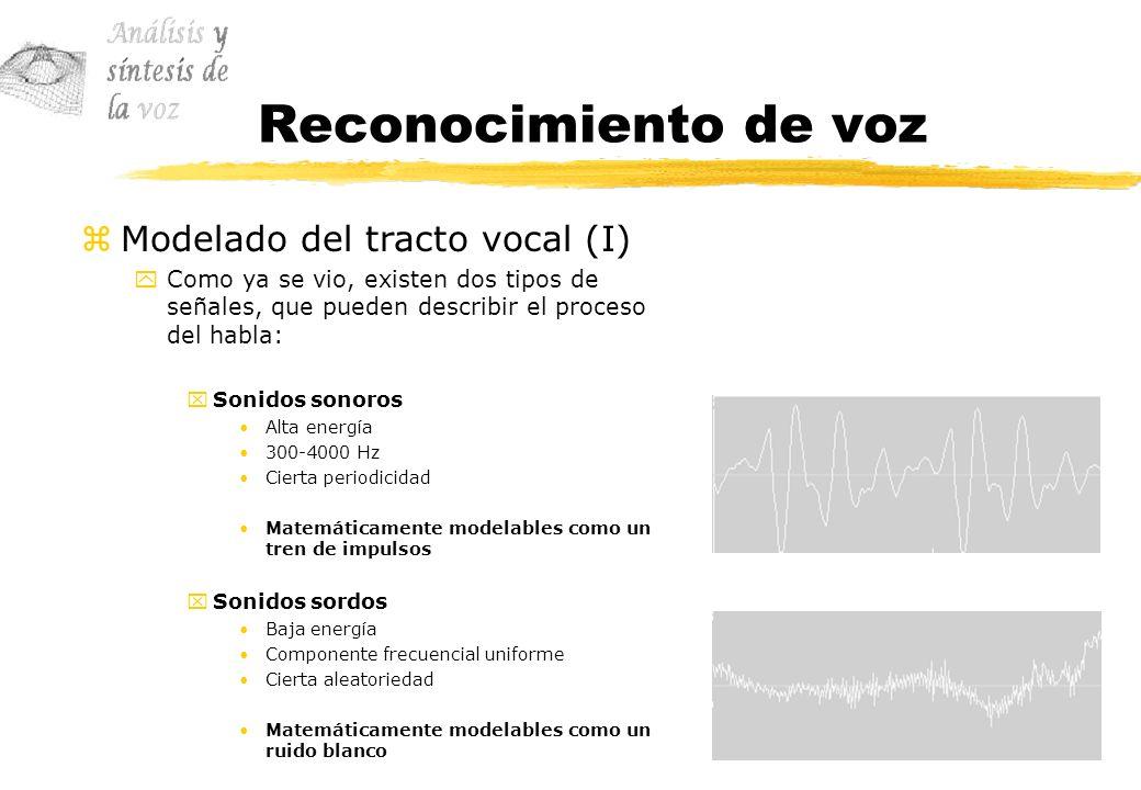 Reconocimiento de voz zModelado del tracto vocal (I) yComo ya se vio, existen dos tipos de señales, que pueden describir el proceso del habla: xSonido