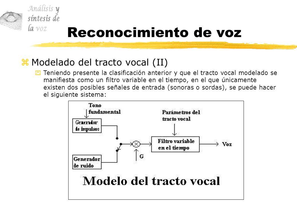 Reconocimiento de voz zModelado del tracto vocal (II) yTeniendo presente la clasificación anterior y que el tracto vocal modelado se manifiesta como u