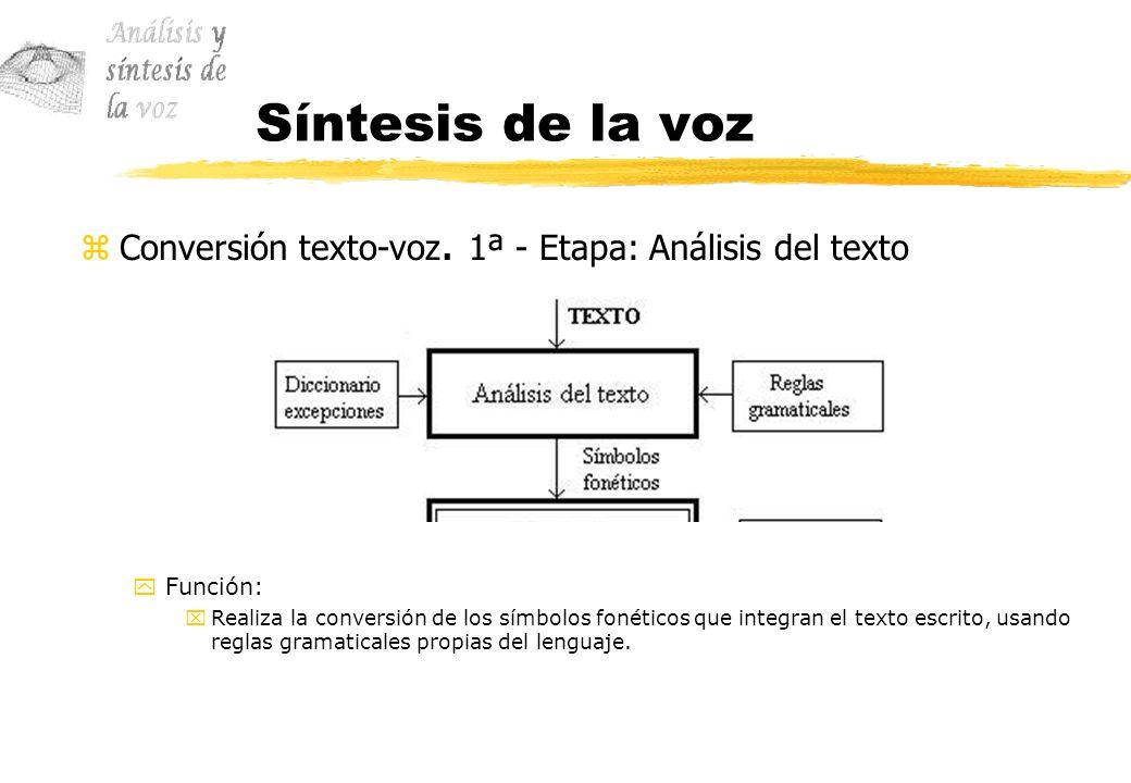 Síntesis de la voz zConversión texto-voz. 1ª - Etapa: Análisis del texto yFunción: xRealiza la conversión de los símbolos fonéticos que integran el te