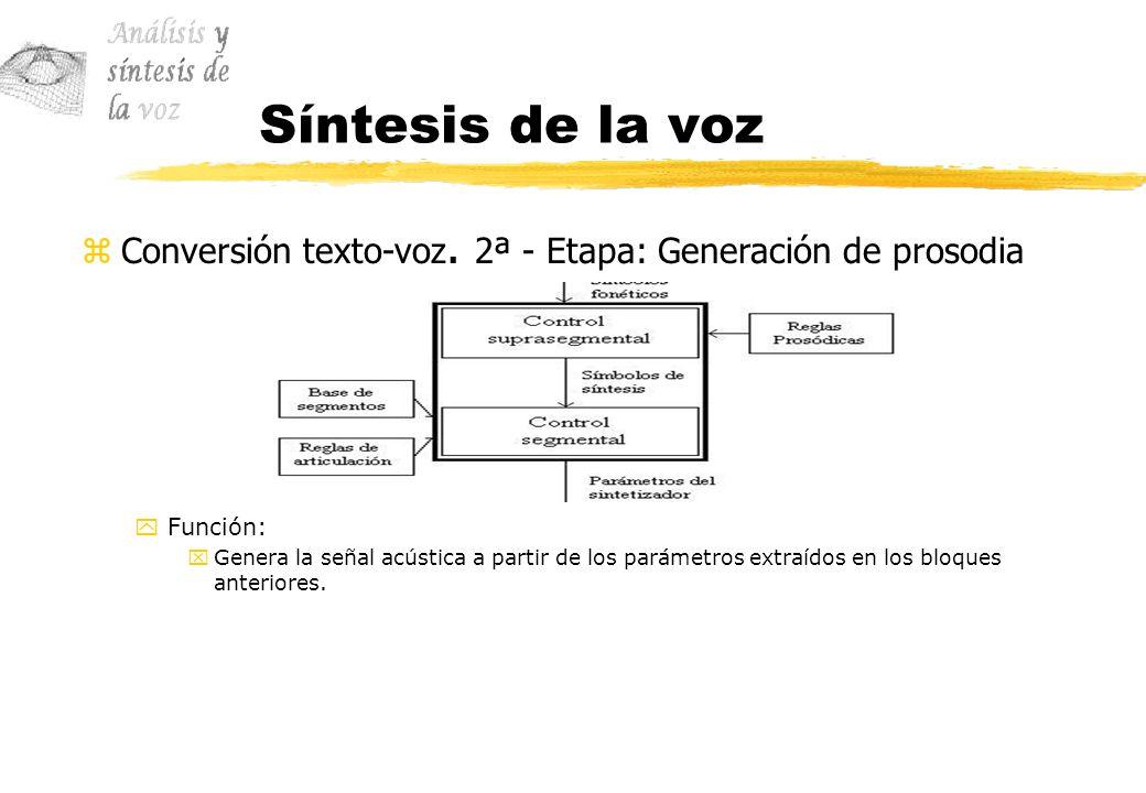 Síntesis de la voz zConversión texto-voz. 2ª - Etapa: Generación de prosodia yFunción: xGenera la señal acústica a partir de los parámetros extraídos