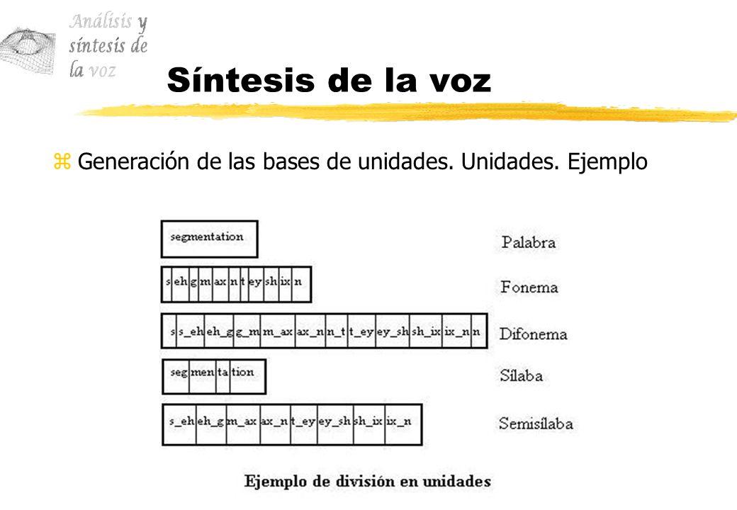 Síntesis de la voz zGeneración de las bases de unidades. Unidades. Ejemplo