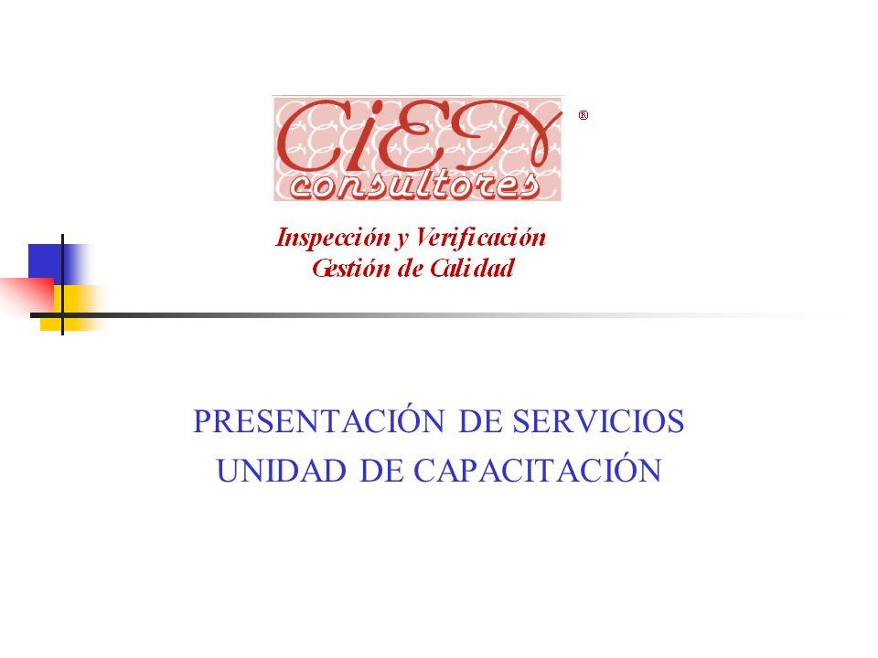 PRESENTACIÓN DE SERVICIOS UNIDAD DE CAPACITACIÓN