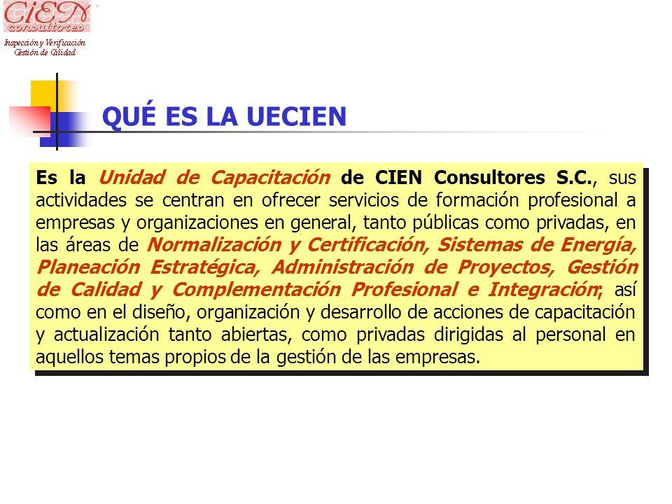 QUÉ ES LA UECIEN Es la Unidad de Capacitación de CIEN Consultores S.C., sus actividades se centran en ofrecer servicios de formación profesional a emp