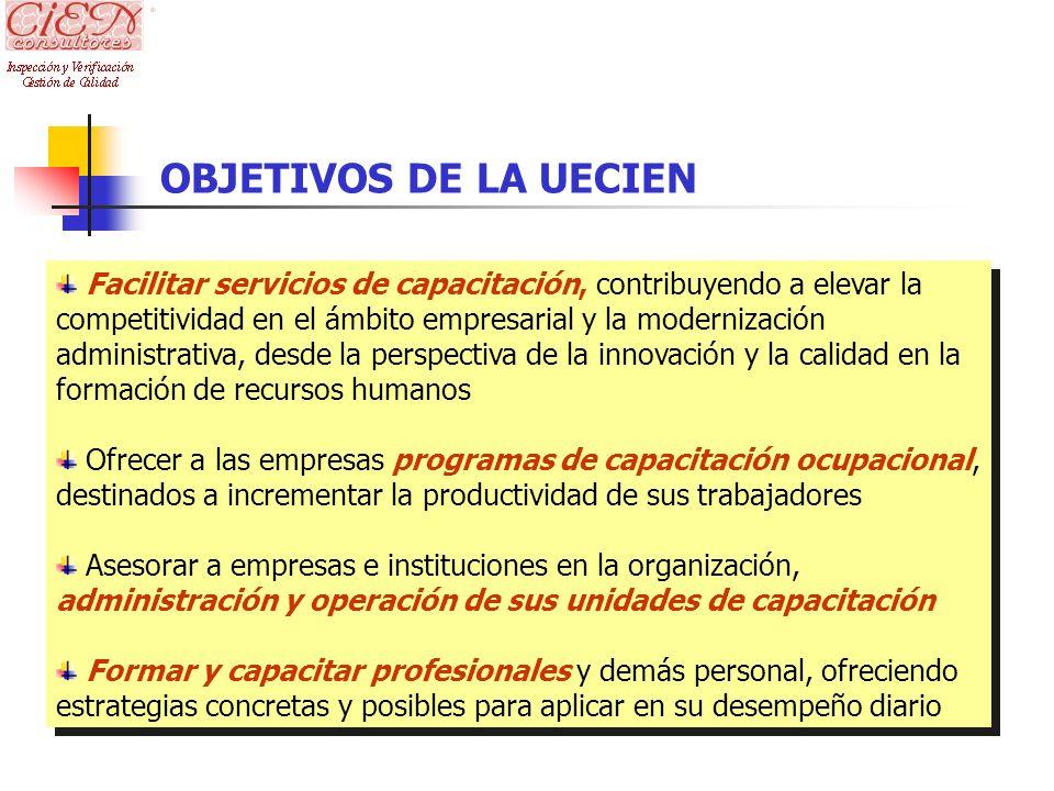 OBJETIVOS DE LA UECIEN Facilitar servicios de capacitación, contribuyendo a elevar la competitividad en el ámbito empresarial y la modernización admin