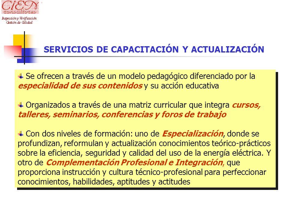 SERVICIOS DE CAPACITACIÓN Y ACTUALIZACIÓN Se ofrecen a través de un modelo pedagógico diferenciado por la especialidad de sus contenidos y su acción e