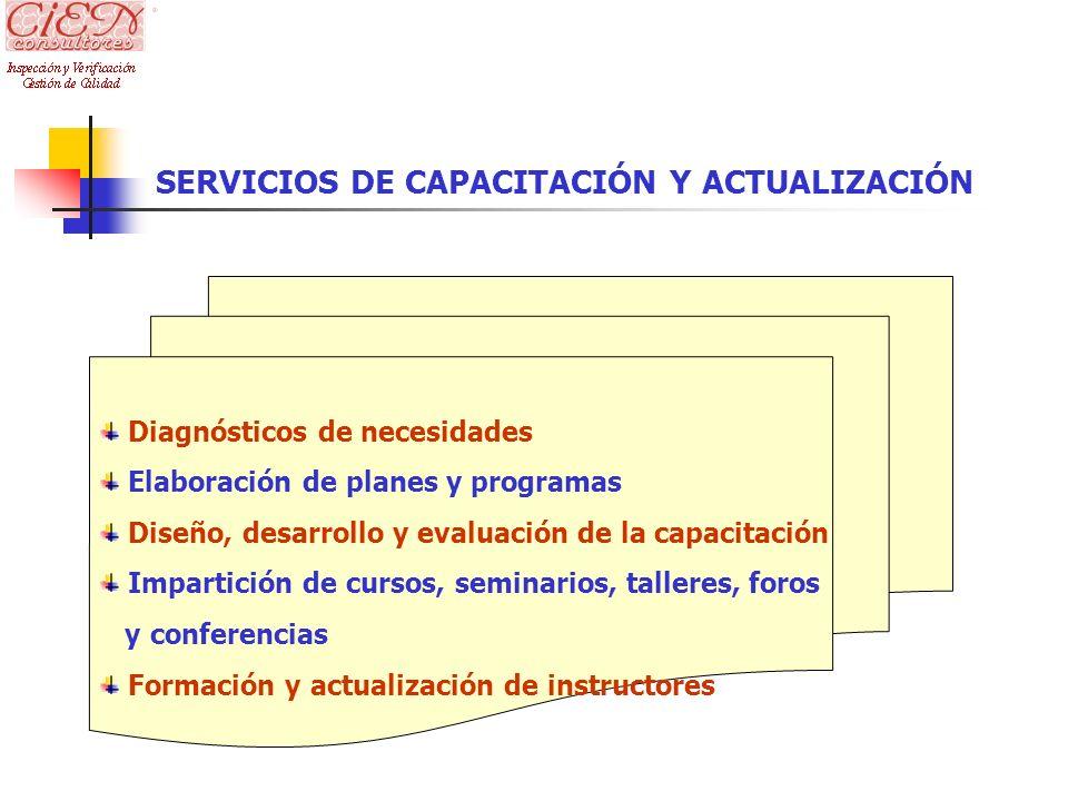 Diagnósticos de necesidades Elaboración de planes y programas Diseño, desarrollo y evaluación de la capacitación Impartición de cursos, seminarios, ta