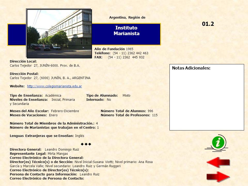 Notas Adicionales: Argentina, Región de Colegio San Agustín Dirección Local: Edison 1151 - NUEVE DE JULIO-6500 BS.