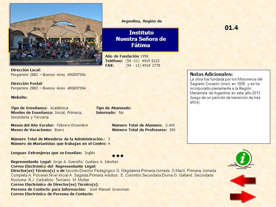 Notas Adicionales: España, Provincia de Colegio Nuestra Señora del Pilar Dirección Local: Castelló 56, 28001 - MADRID ESPAÑA Dirección Postal: Idem Website: http://www.nspilar.orghttp://www.nspilar.org Año de Fundación 1907 Teléfono: (34 - 91) 575 04 04 FAX: (34 - 91) 576 38 90 Director General: D.