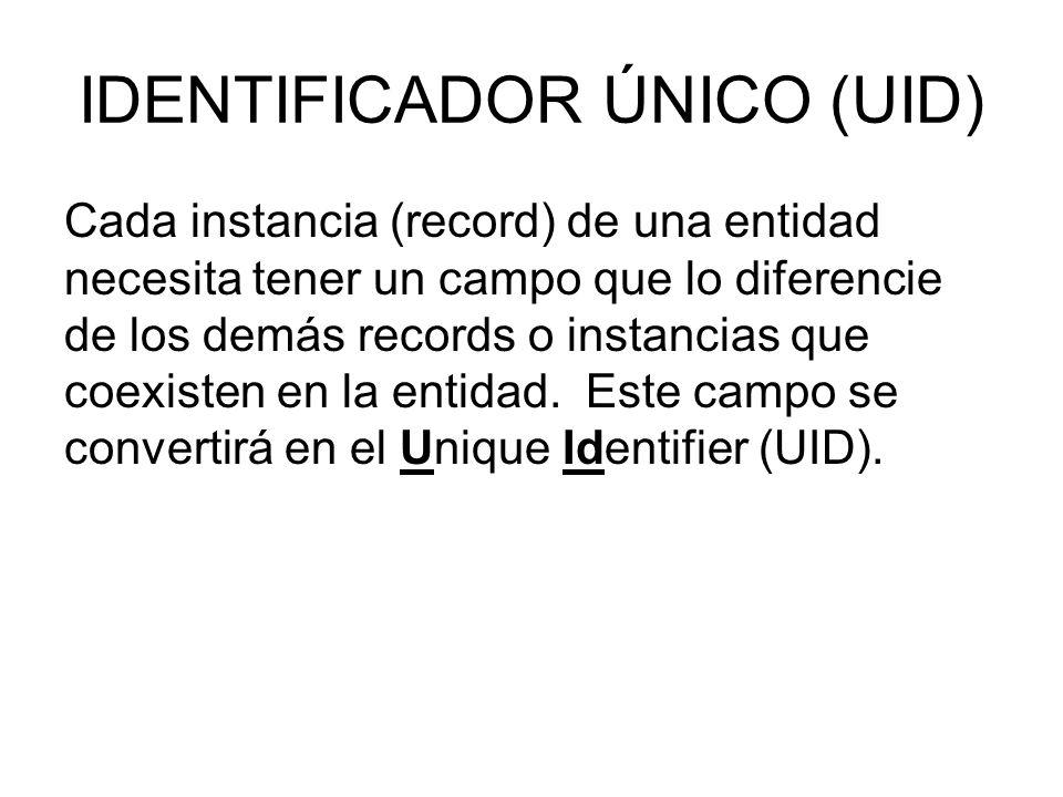 IDENTIFICADOR ÚNICO (UID) Cada instancia (record) de una entidad necesita tener un campo que lo diferencie de los demás records o instancias que coexisten en la entidad.