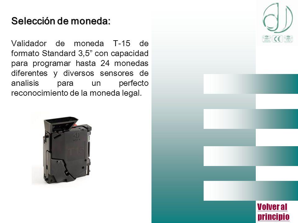 Volver al principio Selección de moneda: Validador de moneda T-15 de formato Standard 3,5 con capacidad para programar hasta 24 monedas diferentes y diversos sensores de analisis para un perfecto reconocimiento de la moneda legal.