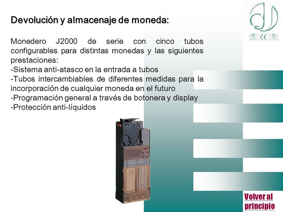 Volver al principio Devolución y almacenaje de moneda: Monedero J2000 de serie con cinco tubos configurables para distintas monedas y las siguientes prestaciones: -Sistema anti-atasco en la entrada a tubos -Tubos intercambiables de diferentes medidas para la incorporación de cualquier moneda en el futuro -Programación general a través de botonera y display -Protección anti-líquidos