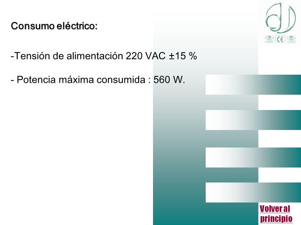 Volver al principio Consumo eléctrico: -Tensión de alimentación 220 VAC ±15 % - Potencia máxima consumida : 560 W.