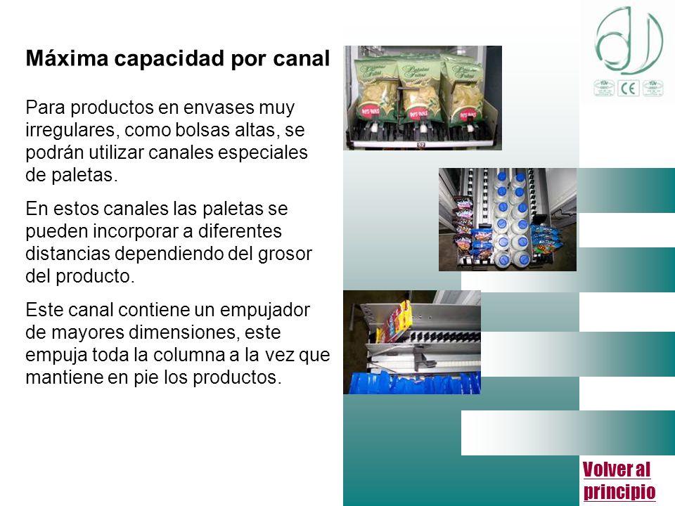 Volver al principio Máxima capacidad por canal Para productos en envases muy irregulares, como bolsas altas, se podrán utilizar canales especiales de paletas.