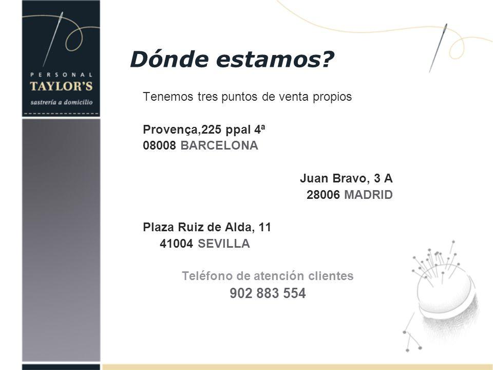 Tenemos tres puntos de venta propios Provença,225 ppal 4ª 08008 BARCELONA Juan Bravo, 3 A 28006 MADRID Plaza Ruiz de Alda, 11 41004 SEVILLA Teléfono d
