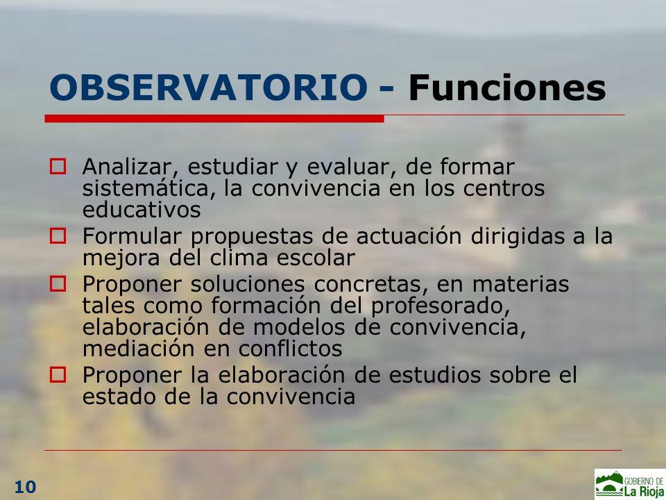 OBSERVATORIO - Funciones Analizar, estudiar y evaluar, de formar sistemática, la convivencia en los centros educativos Formular propuestas de actuació