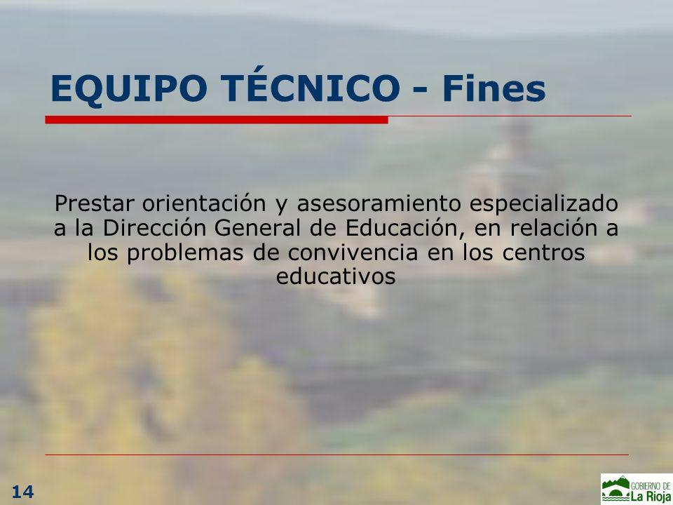 EQUIPO TÉCNICO - Fines Prestar orientación y asesoramiento especializado a la Dirección General de Educación, en relación a los problemas de convivenc