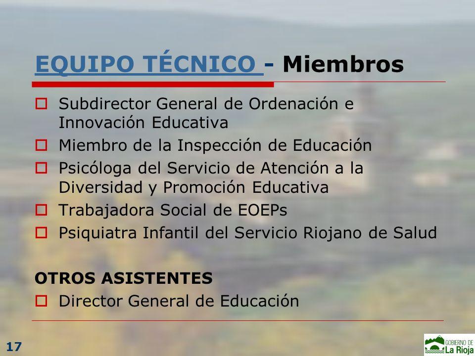EQUIPO TÉCNICO EQUIPO TÉCNICO - Miembros Subdirector General de Ordenación e Innovación Educativa Miembro de la Inspección de Educación Psicóloga del
