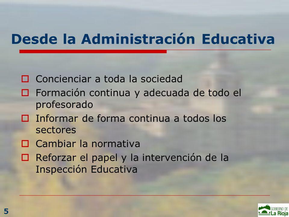 Desde la Administración Educativa Concienciar a toda la sociedad Formación continua y adecuada de todo el profesorado Informar de forma continua a tod