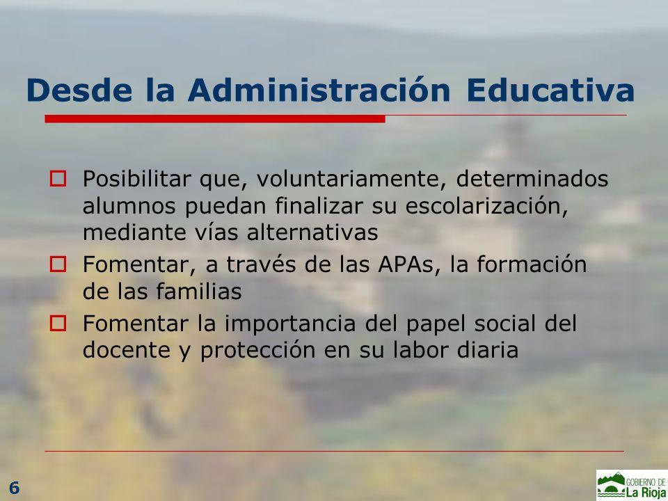 Desde la Administración Educativa Posibilitar que, voluntariamente, determinados alumnos puedan finalizar su escolarización, mediante vías alternativa