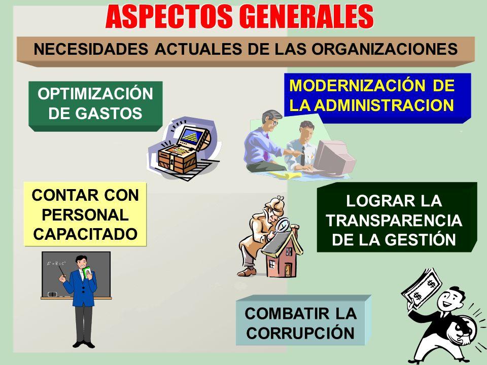 NECESIDADES ACTUALES DE LAS ORGANIZACIONES LOGRAR LA TRANSPARENCIA DE LA GESTIÓN MODERNIZACIÓN DE LA ADMINISTRACION CONTAR CON PERSONAL CAPACITADO COM