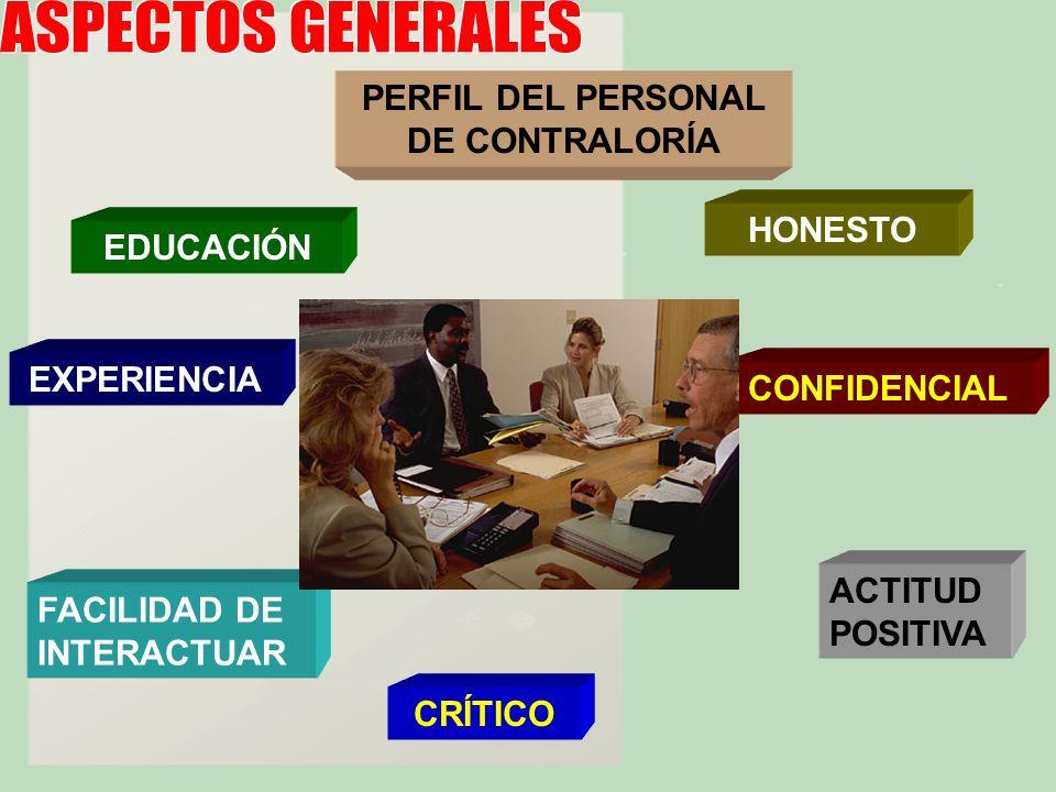 PERFIL DEL PERSONAL DE CONTRALORÍA EDUCACIÓN EXPERIENCIA FACILIDAD DE INTERACTUAR HONESTO CRÍTICO CONFIDENCIAL ACTITUD POSITIVA