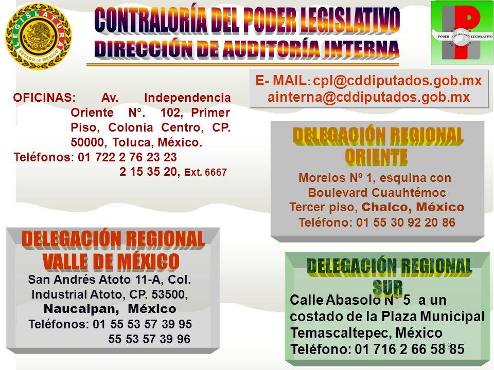 19 Morelos Nº 1, esquina con Boulevard Cuauhtémoc Tercer piso, Chalco, México Teléfono: 01 55 30 92 20 86 OFICINAS: Av. Independencia Oriente N°. 102,