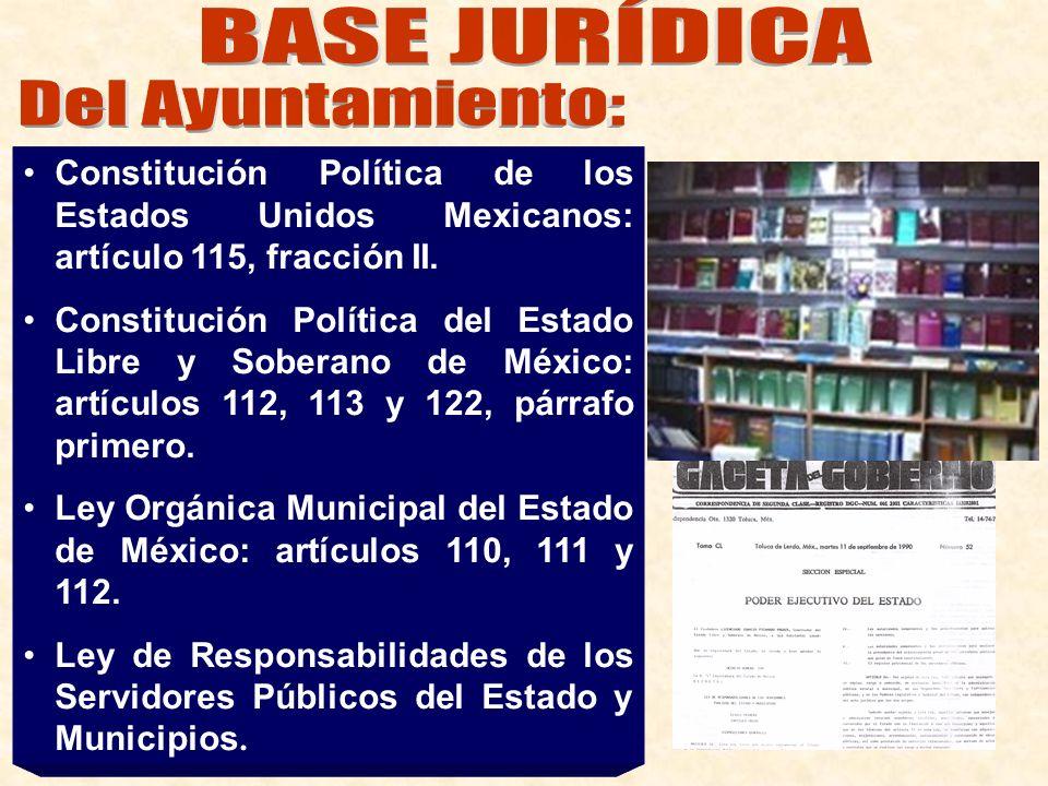 Constitución Política de los Estados Unidos Mexicanos: artículo 115, fracción II. Constitución Política del Estado Libre y Soberano de México: artícul