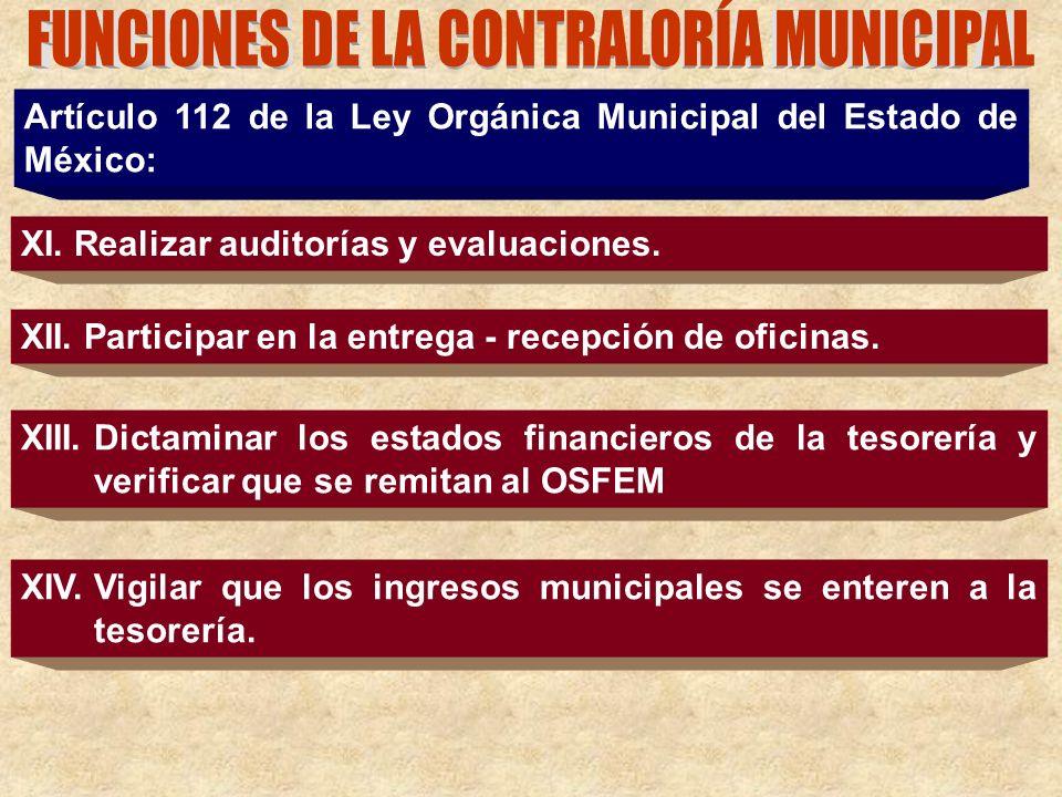 Artículo 112 de la Ley Orgánica Municipal del Estado de México: XI. Realizar auditorías y evaluaciones. XII. Participar en la entrega - recepción de o