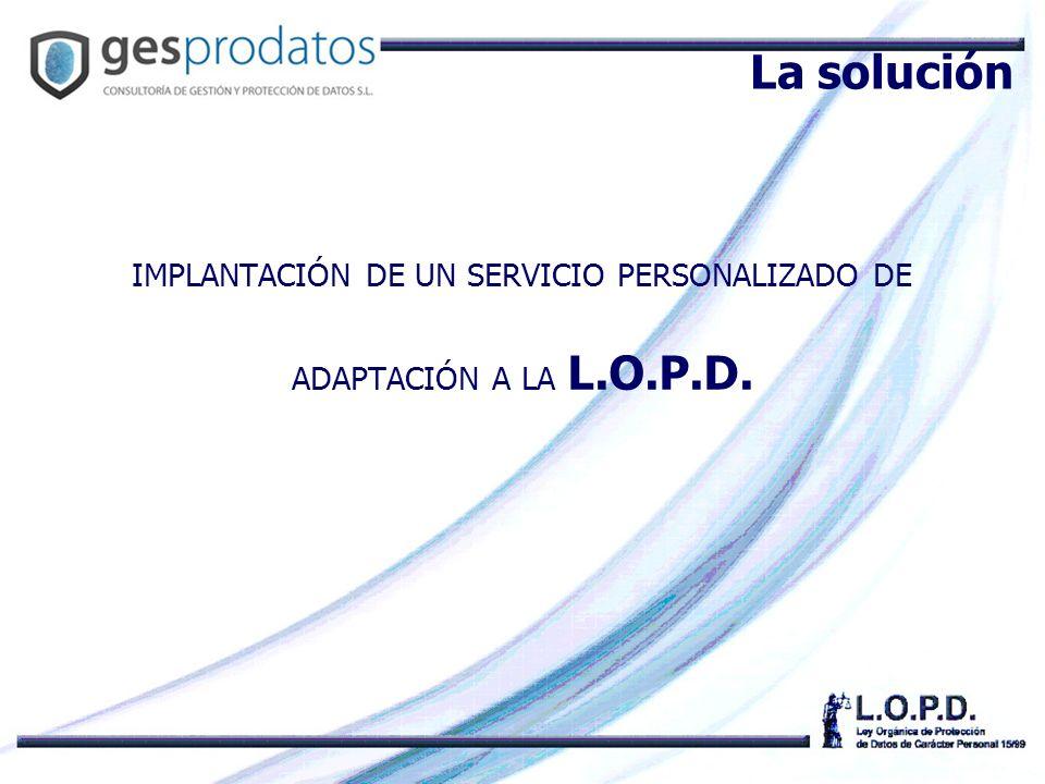IMPLANTACIÓN DE UN SERVICIO PERSONALIZADO DE ADAPTACIÓN A LA L.O.P.D. La solución