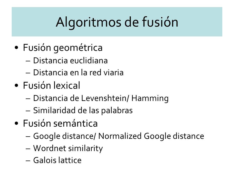 Algoritmos de fusión Fusión geométrica –Distancia euclidiana –Distancia en la red viaria Fusión lexical –Distancia de Levenshtein/ Hamming –Similaridad de las palabras Fusión semántica –Google distance/ Normalized Google distance –Wordnet similarity –Galois lattice