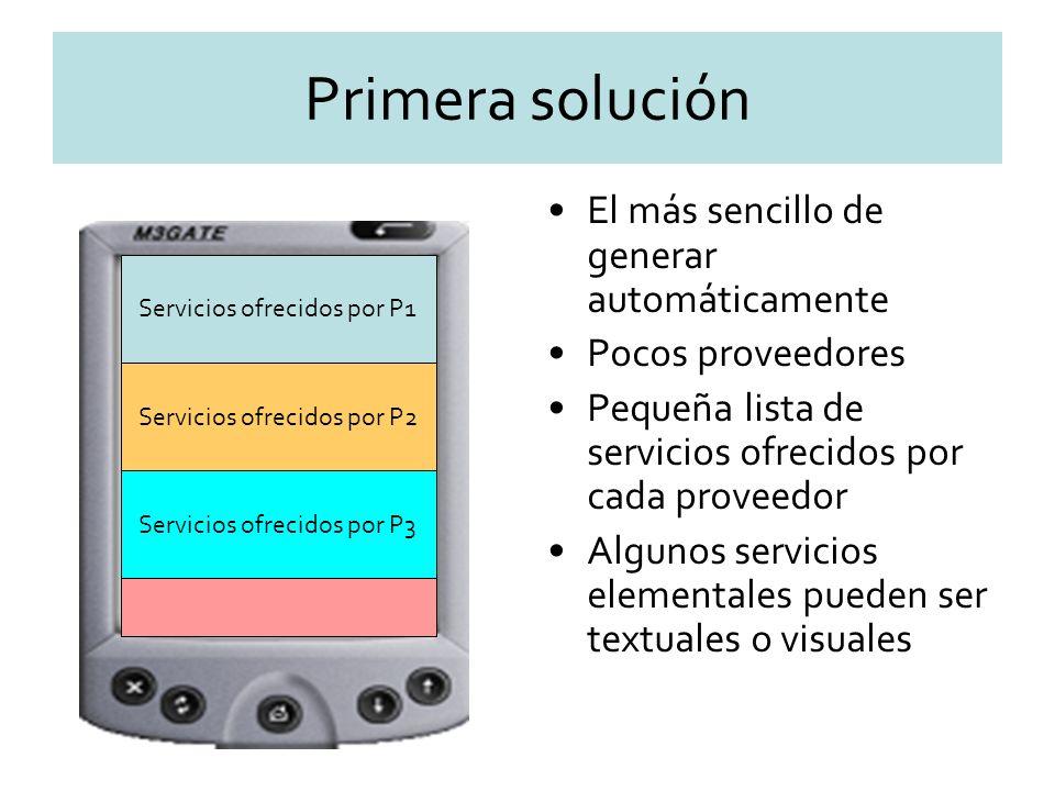 Primera solución El más sencillo de generar automáticamente Pocos proveedores Pequeña lista de servicios ofrecidos por cada proveedor Algunos servicios elementales pueden ser textuales o visuales Servicios ofrecidos por P1 Servicios ofrecidos por P2 Servicios ofrecidos por P3