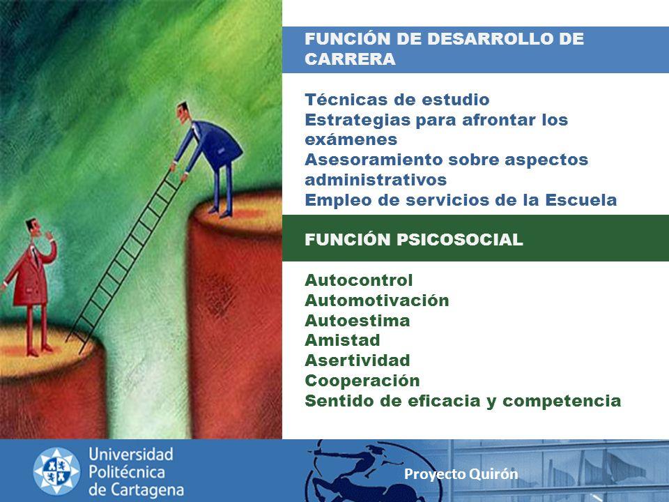 FUNCIÓN DE DESARROLLO DE CARRERA Técnicas de estudio Estrategias para afrontar los exámenes Asesoramiento sobre aspectos administrativos Empleo de ser