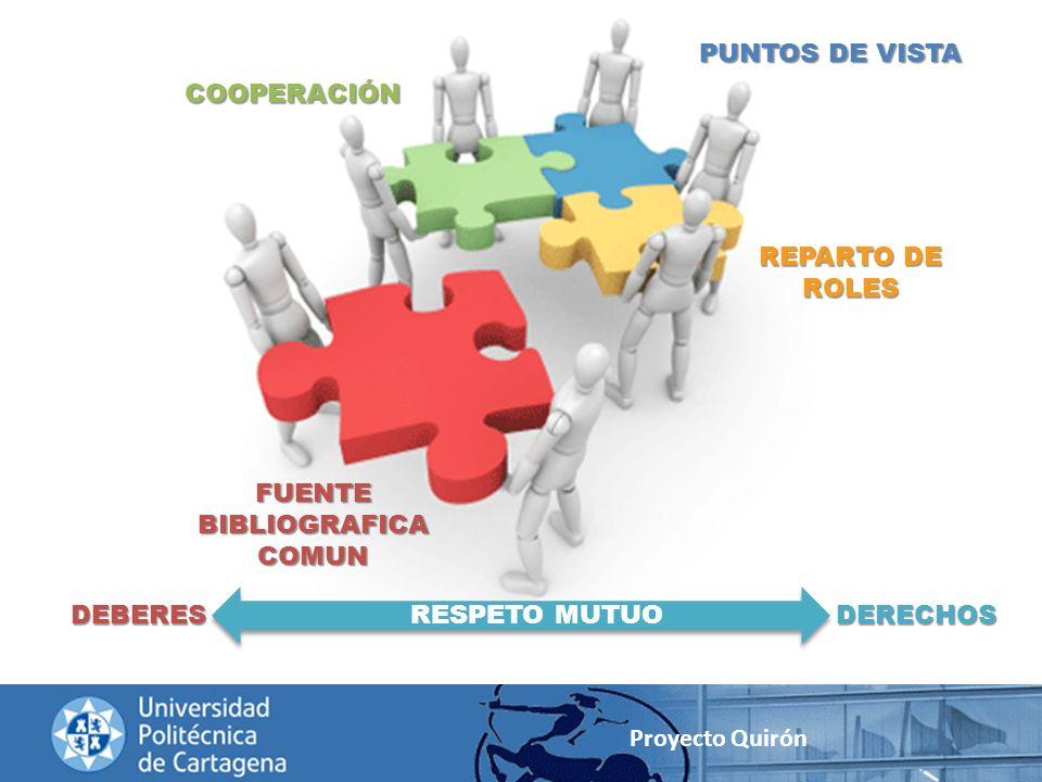 Proyecto Quirón FUENTE BIBLIOGRAFICA COMUN COOPERACIÓN PUNTOS DE VISTA REPARTO DE ROLES DEBERESDERECHOSRESPETO MUTUO
