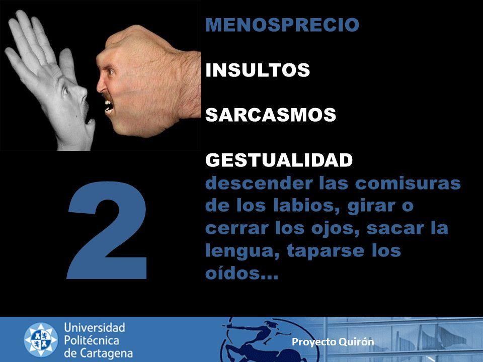 MENOSPRECIO INSULTOS SARCASMOS GESTUALIDAD descender las comisuras de los labios, girar o cerrar los ojos, sacar la lengua, taparse los oídos… 2 Proye