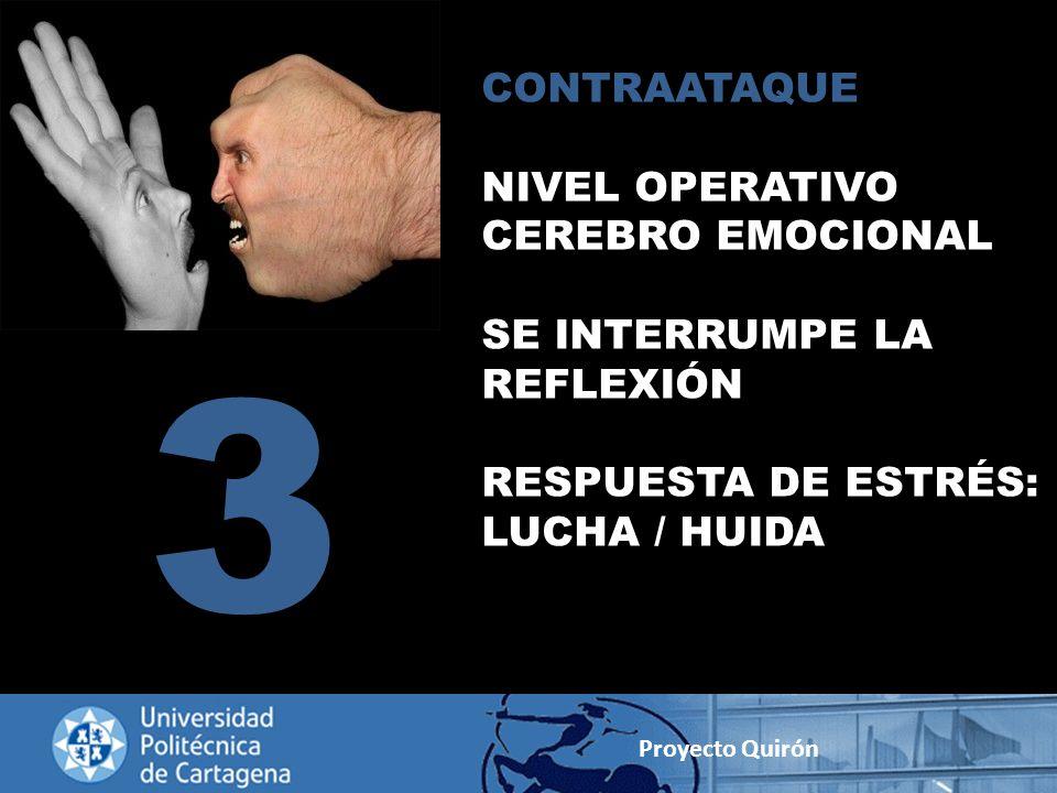 CONTRAATAQUE NIVEL OPERATIVO CEREBRO EMOCIONAL SE INTERRUMPE LA REFLEXIÓN RESPUESTA DE ESTRÉS: LUCHA / HUIDA 3 Proyecto Quirón