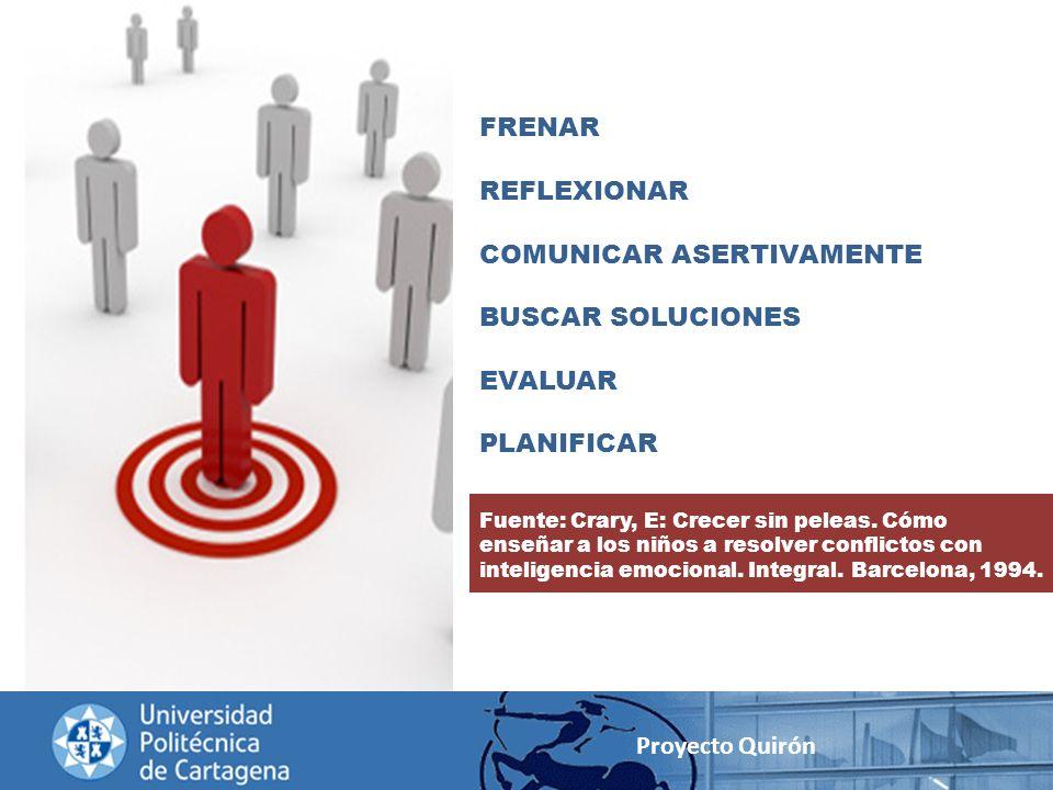 Proyecto Quirón FRENAR REFLEXIONAR COMUNICAR ASERTIVAMENTE BUSCAR SOLUCIONES EVALUAR PLANIFICAR Fuente: Crary, E: Crecer sin peleas. Cómo enseñar a lo