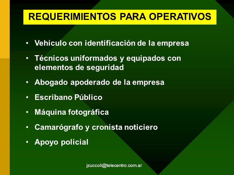 jzuccoli@telecentro.com.ar REQUERIMIENTOS PARA OPERATIVOS Vehículo con identificación de la empresa Técnicos uniformados y equipados con elementos de