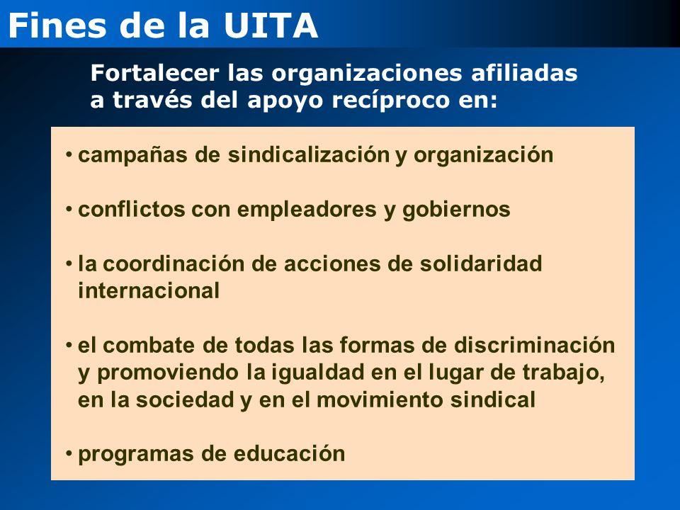 Fortalecer las organizaciones afiliadas a través del apoyo recíproco en: campañas de sindicalización y organización conflictos con empleadores y gobiernos la coordinación de acciones de solidaridad internacional el combate de todas las formas de discriminación y promoviendo la igualdad en el lugar de trabajo, en la sociedad y en el movimiento sindical programas de educación Fines de la UITA