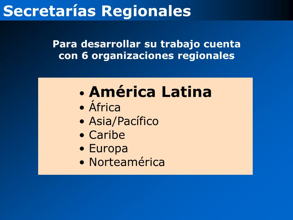 América Latina África Asia/Pacífico Caribe Europa Norteamérica Secretarías Regionales Para desarrollar su trabajo cuenta con 6 organizaciones regionales