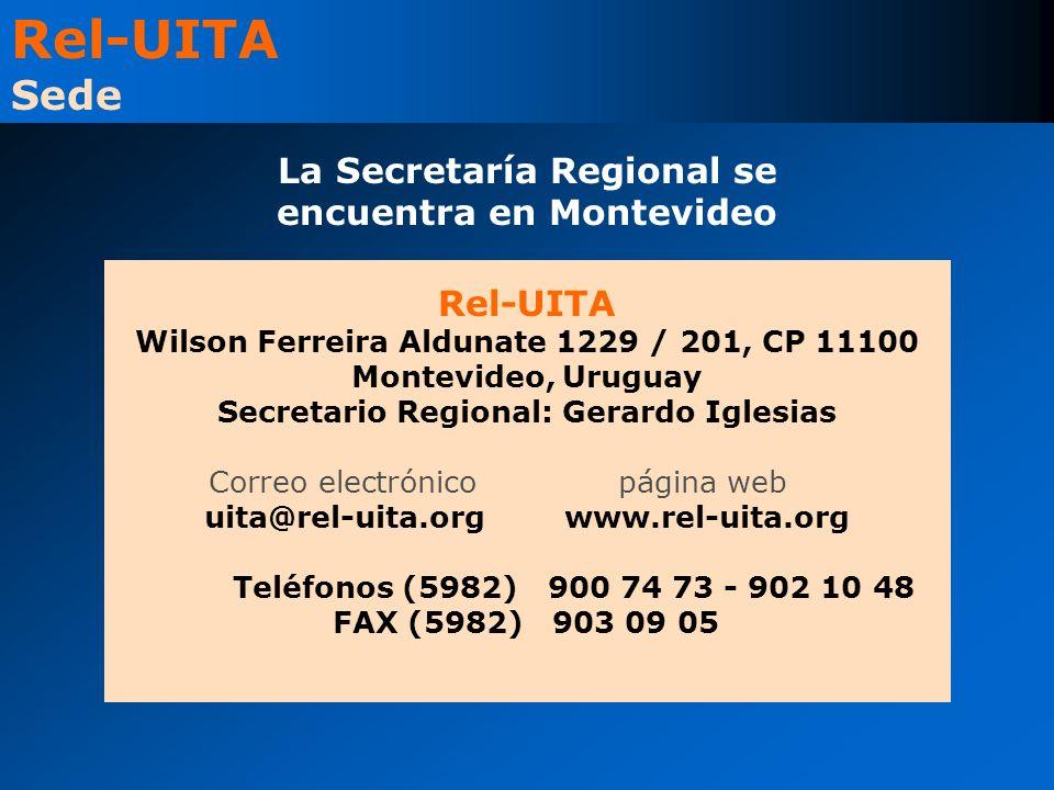 Rel-UITA Wilson Ferreira Aldunate 1229 / 201, CP 11100 Montevideo, Uruguay Secretario Regional: Gerardo Iglesias Correo electrónicopágina web uita@rel-uita.org www.rel-uita.org Teléfonos (5982) 900 74 73 - 902 10 48 FAX (5982) 903 09 05 Rel-UITA Sede La Secretaría Regional se encuentra en Montevideo