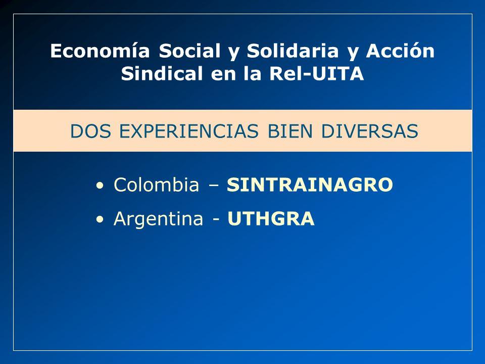 Economía Social y Solidaria y Acción Sindical en la Rel-UITA DOS EXPERIENCIAS BIEN DIVERSAS Colombia – SINTRAINAGRO Argentina - UTHGRA